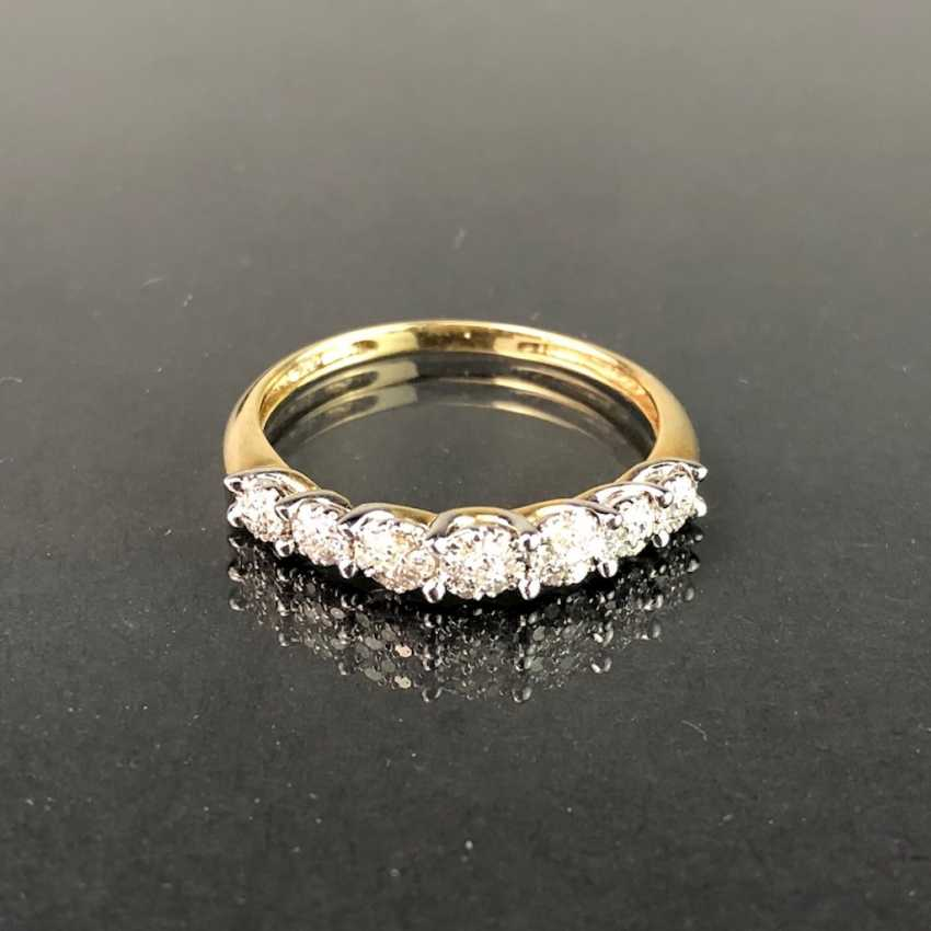 Ladies Ring / half eternity Ring: yellow gold and white gold 585, total 0.75 carats, very good. - photo 3