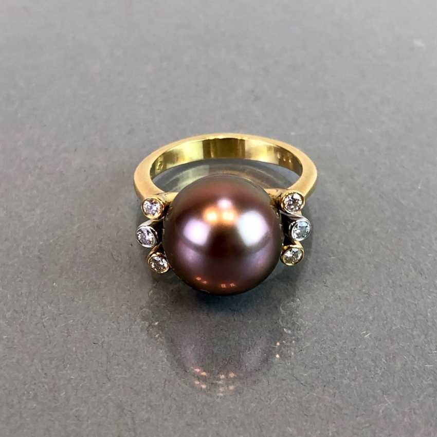 "Exclusive jewelry: Tahitian pearls and diamonds. Ring, Earring, Pendant. Marked ""EASY"". Gold 750 / 18 K. - photo 2"