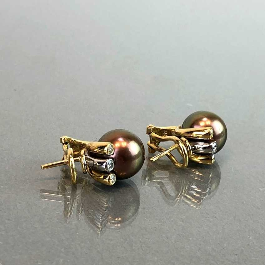 "Exclusive jewelry: Tahitian pearls and diamonds. Ring, Earring, Pendant. Marked ""EASY"". Gold 750 / 18 K. - photo 3"