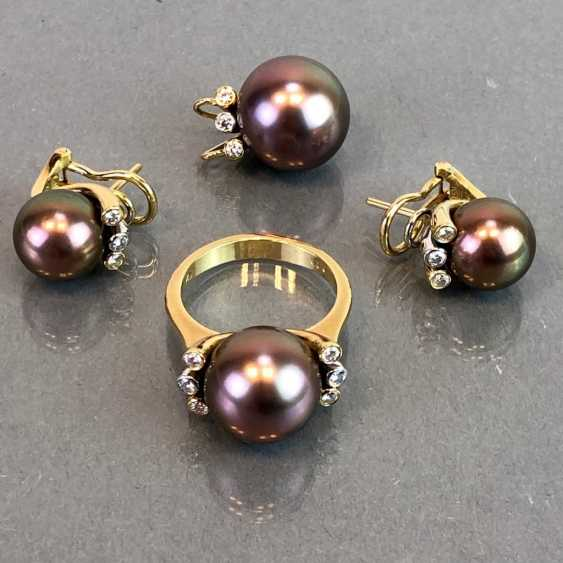 "Exclusive jewelry: Tahitian pearls and diamonds. Ring, Earring, Pendant. Marked ""EASY"". Gold 750 / 18 K. - photo 6"
