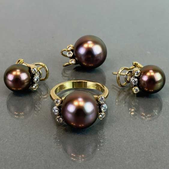 "Exclusive jewelry: Tahitian pearls and diamonds. Ring, Earring, Pendant. Marked ""EASY"". Gold 750 / 18 K. - photo 7"