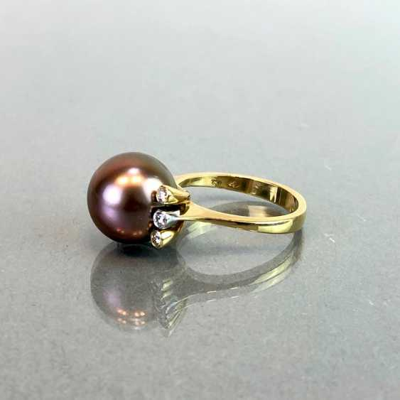 "Exclusive jewelry: Tahitian pearls and diamonds. Ring, Earring, Pendant. Marked ""EASY"". Gold 750 / 18 K. - photo 8"