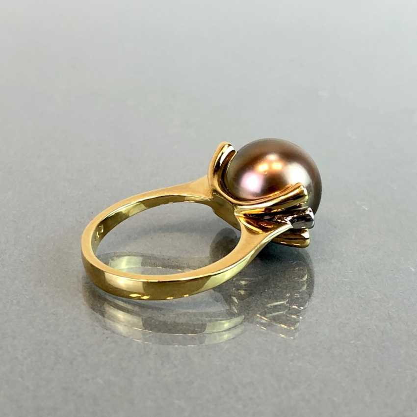 "Exclusive jewelry: Tahitian pearls and diamonds. Ring, Earring, Pendant. Marked ""EASY"". Gold 750 / 18 K. - photo 9"