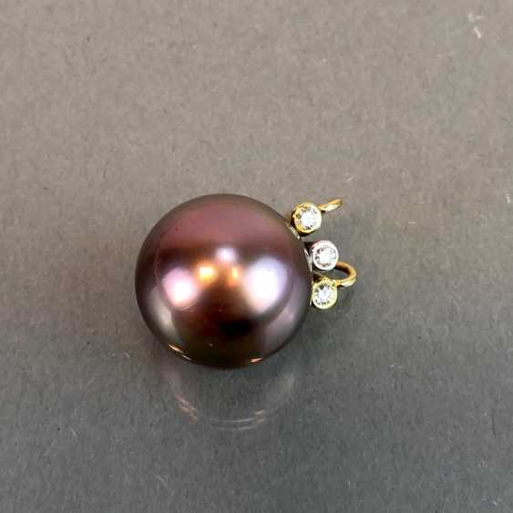 "Exclusive jewelry: Tahitian pearls and diamonds. Ring, Earring, Pendant. Marked ""EASY"". Gold 750 / 18 K. - photo 10"
