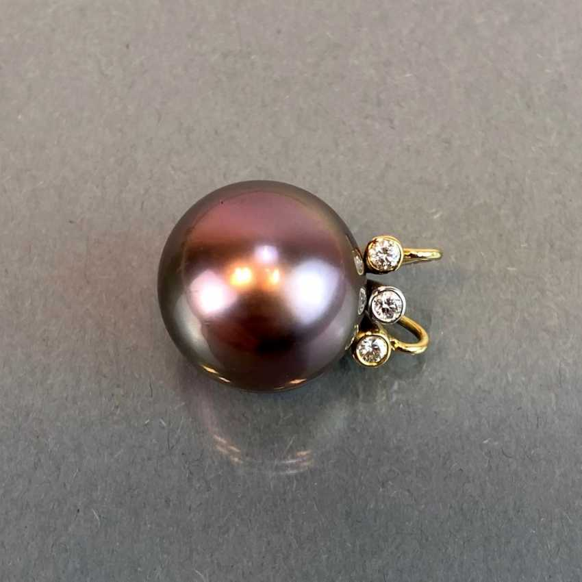 "Exclusive jewelry: Tahitian pearls and diamonds. Ring, Earring, Pendant. Marked ""EASY"". Gold 750 / 18 K. - photo 11"