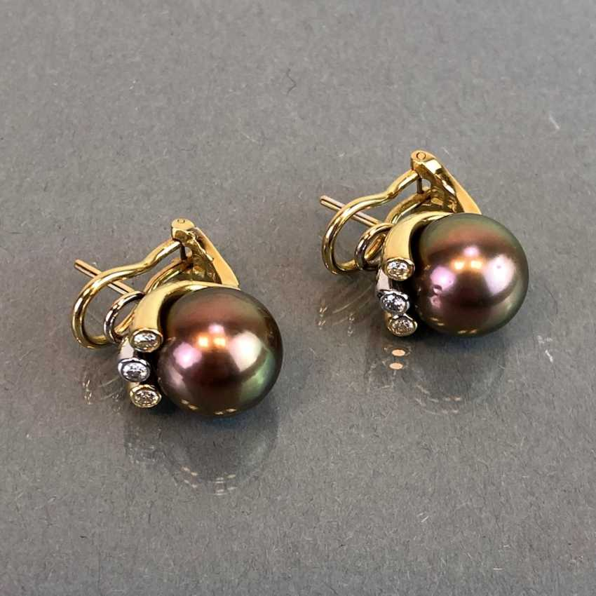 "Exclusive jewelry: Tahitian pearls and diamonds. Ring, Earring, Pendant. Marked ""EASY"". Gold 750 / 18 K. - photo 13"