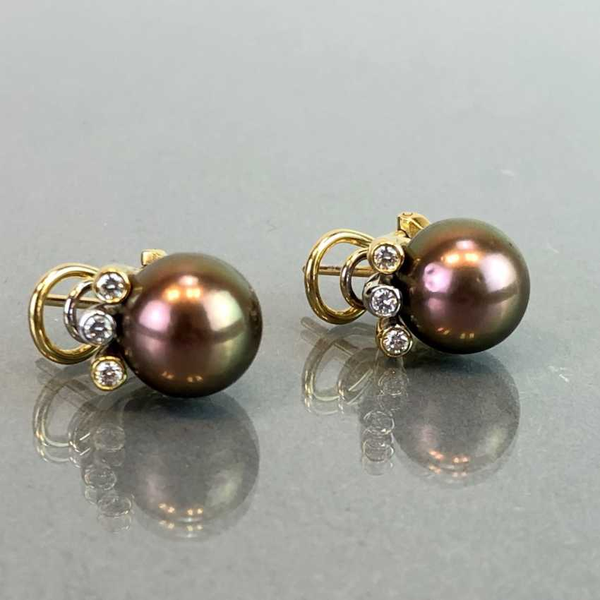 "Exclusive jewelry: Tahitian pearls and diamonds. Ring, Earring, Pendant. Marked ""EASY"". Gold 750 / 18 K. - photo 14"