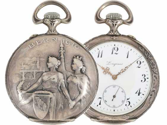 Pocket watch: rare, fine art Deco, art Nouveau Schützenuhr Longines, Bern, 1910 - photo 1