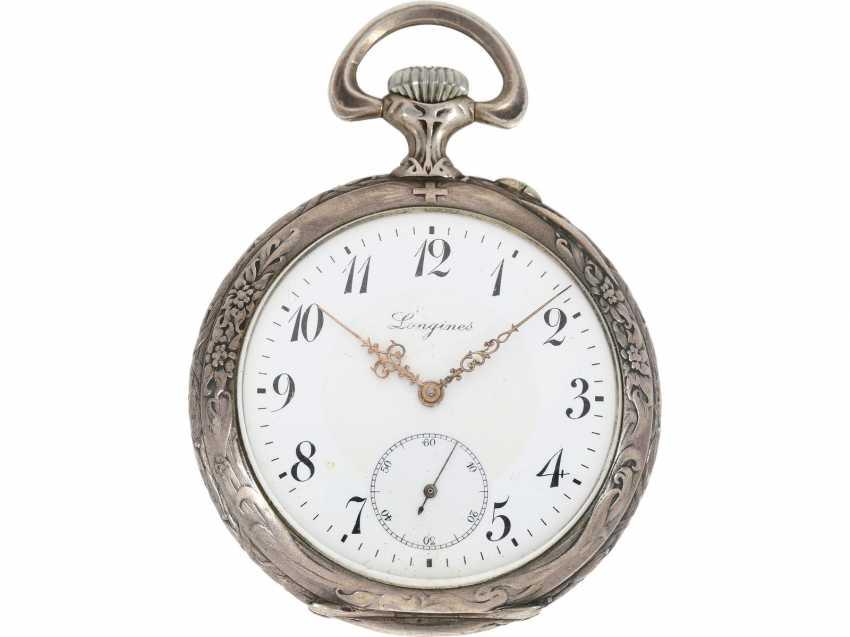 Pocket watch: rare, fine art Deco, art Nouveau Schützenuhr Longines, Bern, 1910 - photo 3