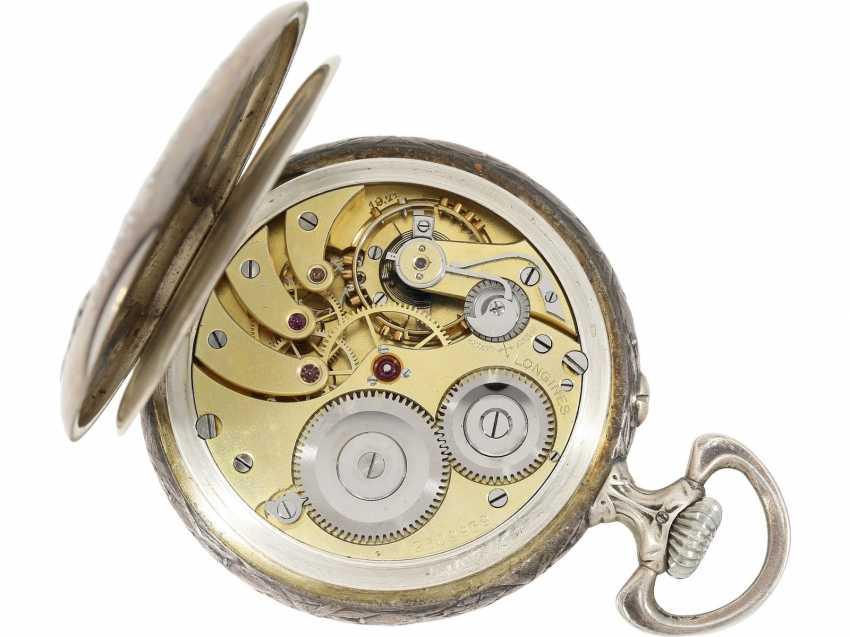Pocket watch: rare, fine art Deco, art Nouveau Schützenuhr Longines, Bern, 1910 - photo 4