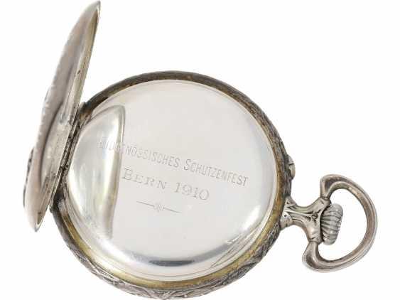 Pocket watch: rare, fine art Deco, art Nouveau Schützenuhr Longines, Bern, 1910 - photo 6