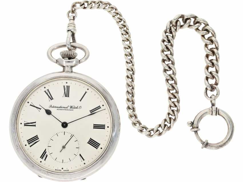 Pocket watch: beautiful silver Lepine of the brand IWC, reference to 135, with matching watch chain, from the year 1930, with the master excerpt from the book - photo 1