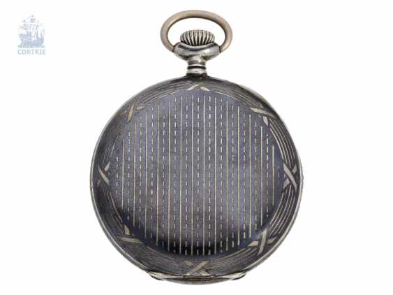 Pocket watch: rare Swiss School clock with vintage Siam sterling silver case and original chain, school of watchmaking in Fleurier, Pierre Fabbri, 1926-1929 - photo 2