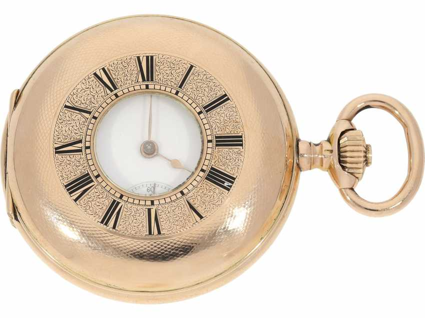 Pocket watch: very beautiful and well-preserved, 14K Gold half-savonnette of the IWC brand from the year 1891, with the master excerpt from the book - photo 1