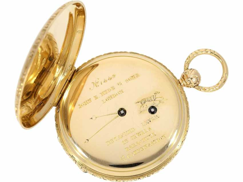 Pocket watch: fine Lepine with high plant quality, temperature compensation, and Parachute, John E. Hyde & Sons, London, No. 1449, with Golden original key and original box, approx. in 1850 - photo 4