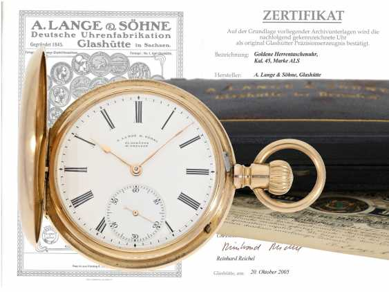 Pocket watch: high-quality, heavy A. Lange & Söhne Glashütte gold savonnette with original box and original papers from 1904 - photo 1