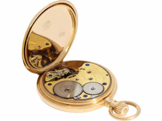 Pocket watch: high-quality, heavy A. Lange & Söhne Glashütte gold savonnette with original box and original papers from 1904 - photo 4