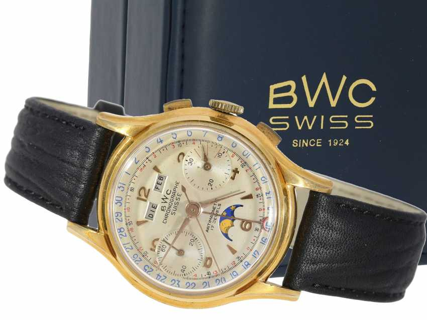 Watch: very rare, large, Chronograph with full calendar and moon phase, BWC Suisse, 50s, with Box and original papers - photo 1