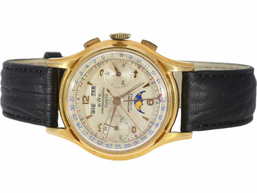 Watch: very rare, large, Chronograph with full calendar and moon phase, BWC Suisse, 50s, with Box and original papers - photo 2