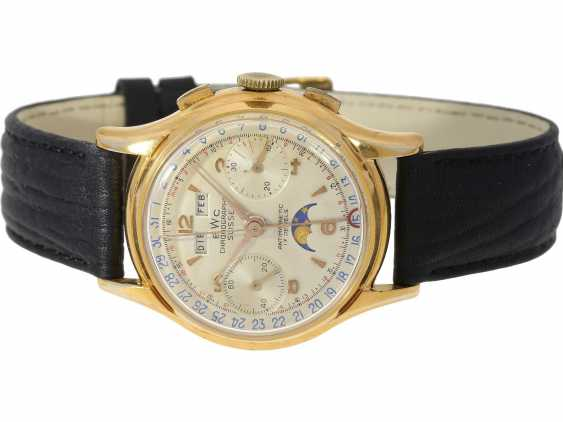 Watch: very rare, large, Chronograph with full calendar and moon phase, BWC Suisse, 50s, with Box and original papers - photo 7