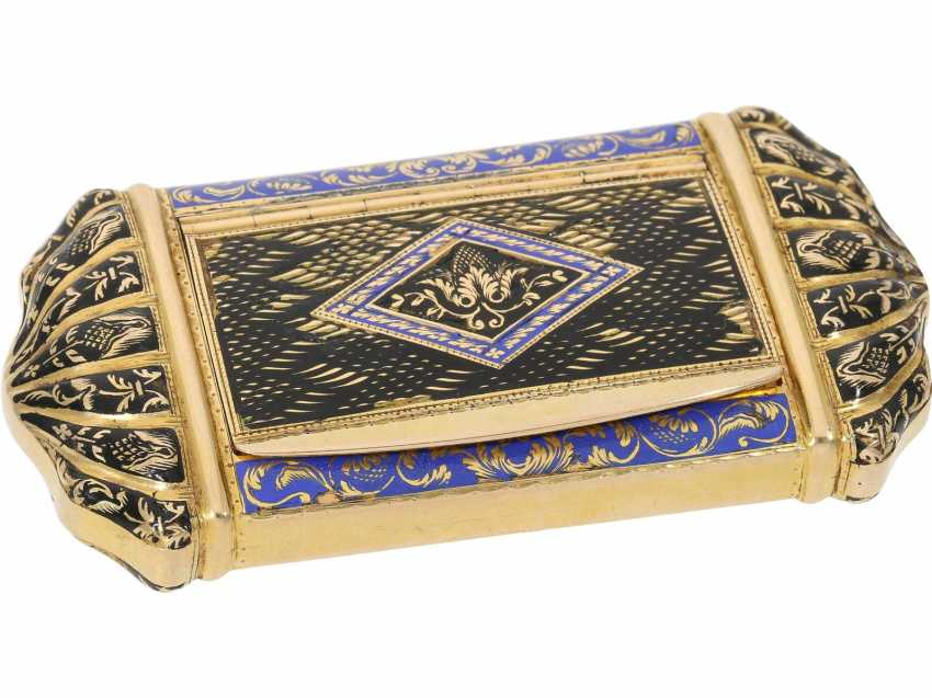 Can: fine antique Gold and enamel snuff box, stamp 1807-1812, probably Italy - photo 1