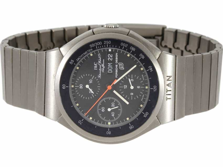 "Watch: a sporty mens Chronograph watch, IWC Porsche Design ""chronograph Automatic"", titanium, Ref. 3700, at the end of 80s - photo 1"