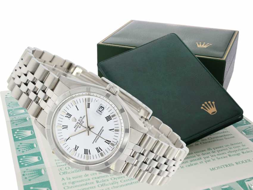 Watch: vintage men's watch Rolex Oyster Perpetual Date, Ref. 15010, Revision 2018, Full Set with original box, original papers and original invoice from 1988 - photo 1