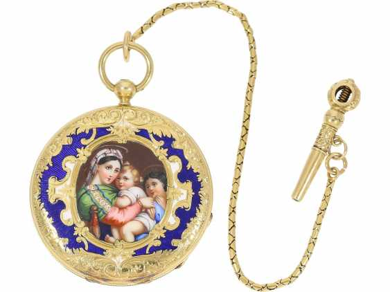 "Pocket watch/Anhängeuhr: exquisite Damenlepine from the time of the founding of the famous Patek Philippe, finest enamel magnifying glass painting ""Madonna della Sedia"", a rare Golden original key, signed Czapek et Cie, Geneve, No. 1564, CA. 1845 - photo 1"
