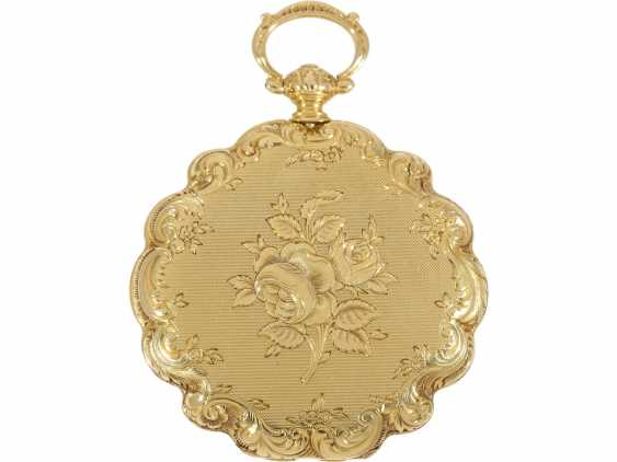 Pocket watch/Anhängeuhr: magnificent ladies watch with curved case and of extremely high quality, housing-engraving, Golay-Leresche No. 3914, Geneva, around 1840 - photo 3