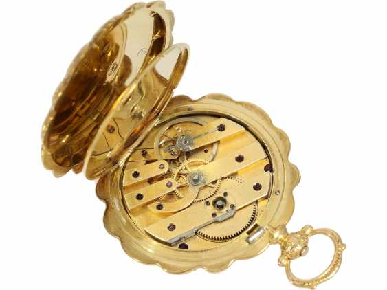 Pocket watch/Anhängeuhr: magnificent ladies watch with curved case and of extremely high quality, housing-engraving, Golay-Leresche No. 3914, Geneva, around 1840 - photo 4