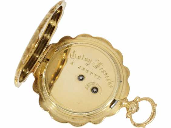 Pocket watch/Anhängeuhr: magnificent ladies watch with curved case and of extremely high quality, housing-engraving, Golay-Leresche No. 3914, Geneva, around 1840 - photo 5