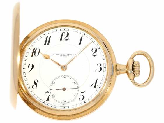 Pocket watch: very beautiful 14K Savonnette of the brand Patek Philippe, No. 162685, CA. 1900 - photo 1