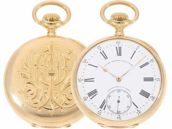 "Pocket watch: largest and heaviest version of a Patek Philippe chronometer ""Gondolo"" with rare double signature, No. 140424, CA. 1905 - photo 1"