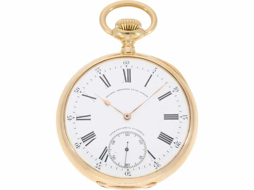"Pocket watch: largest and heaviest version of a Patek Philippe chronometer ""Gondolo"" with rare double signature, No. 140424, CA. 1905 - photo 3"