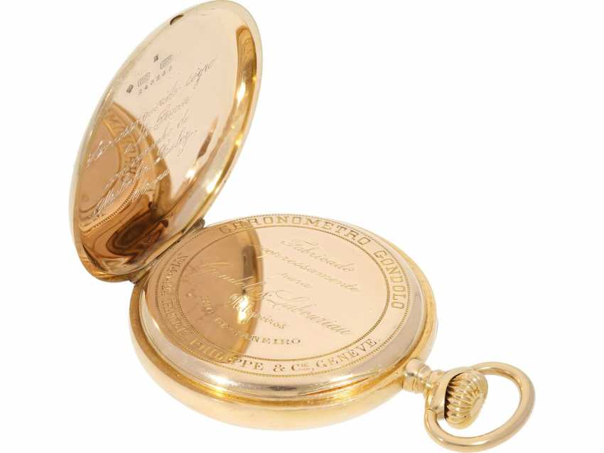 "Pocket watch: largest and heaviest version of a Patek Philippe chronometer ""Gondolo"" with rare double signature, No. 140424, CA. 1905 - photo 6"