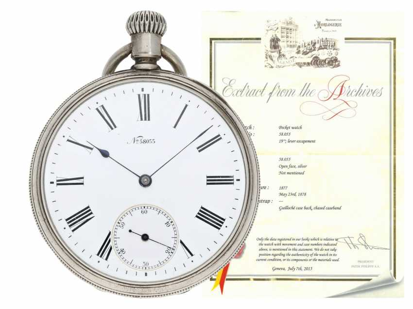 Pocket watch: unusual, very early Patek Philippe Anker chronometer with rare 2/3-Board, Geneva, 1877, with the master excerpt from the book - photo 1