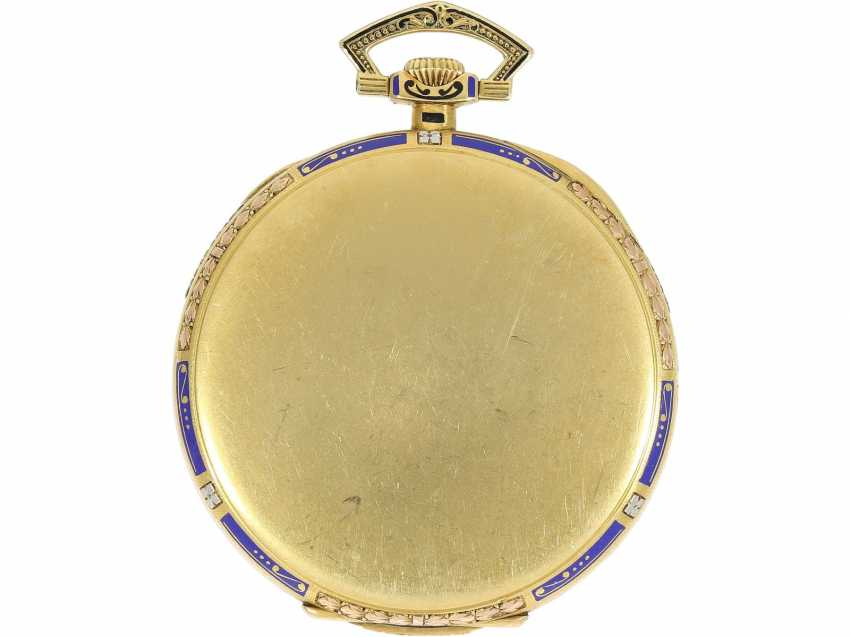 Pocket watch: Patek Philippe Gold/enamel Art Deco Frackuhr in a special 3-tone design with matching Chatelaine, CA. 1925 - photo 2