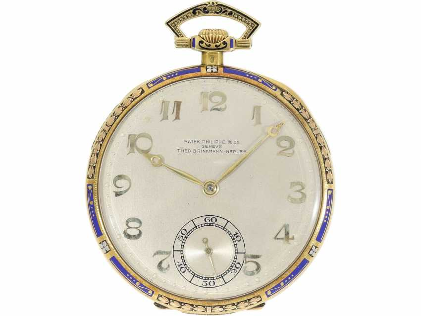 Pocket watch: Patek Philippe Gold/enamel Art Deco Frackuhr in a special 3-tone design with matching Chatelaine, CA. 1925 - photo 3