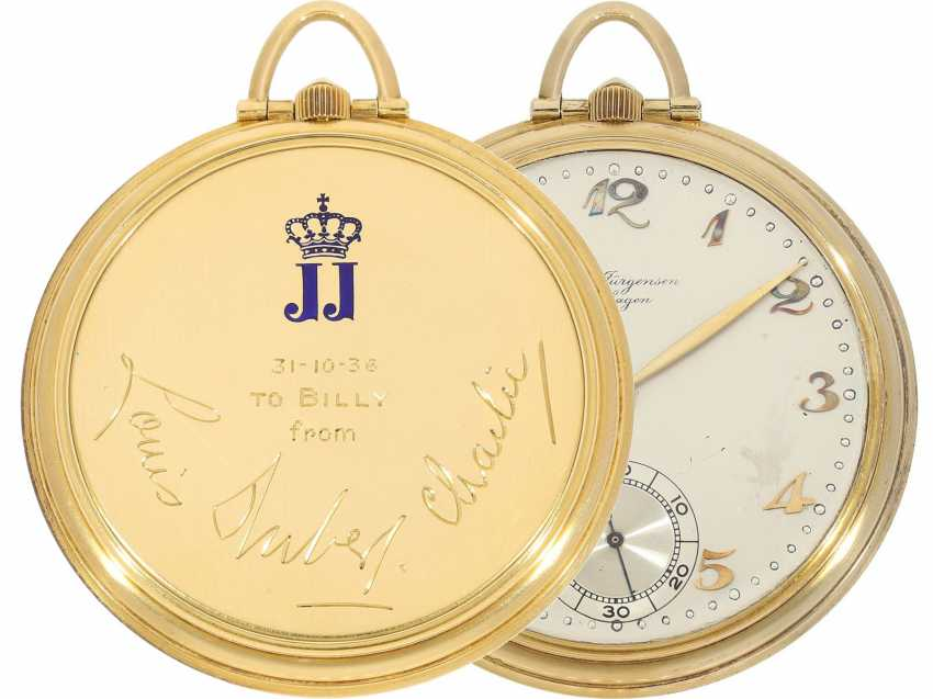 Pocket watch: rare, very fine Art Deco Frackuhr with Breguet dial, Jules Jürgensen, Copenhagen, No. 118091, CA. 1935, with original box - photo 1