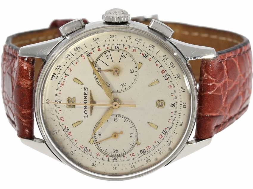 "Armbanduhr: sehr seltener ""oversize-38mm"" Flyback Chronograph, Longines 30CH, Ref. 5982-10 in Stahl, ca.1960 - photo 1"