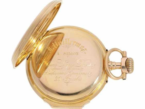 Pocket watch: very beautiful Louis XV Lepine, with a calendar, 18K red gold case, signed Vuillermos a Saigon, CA. 1870 - photo 4