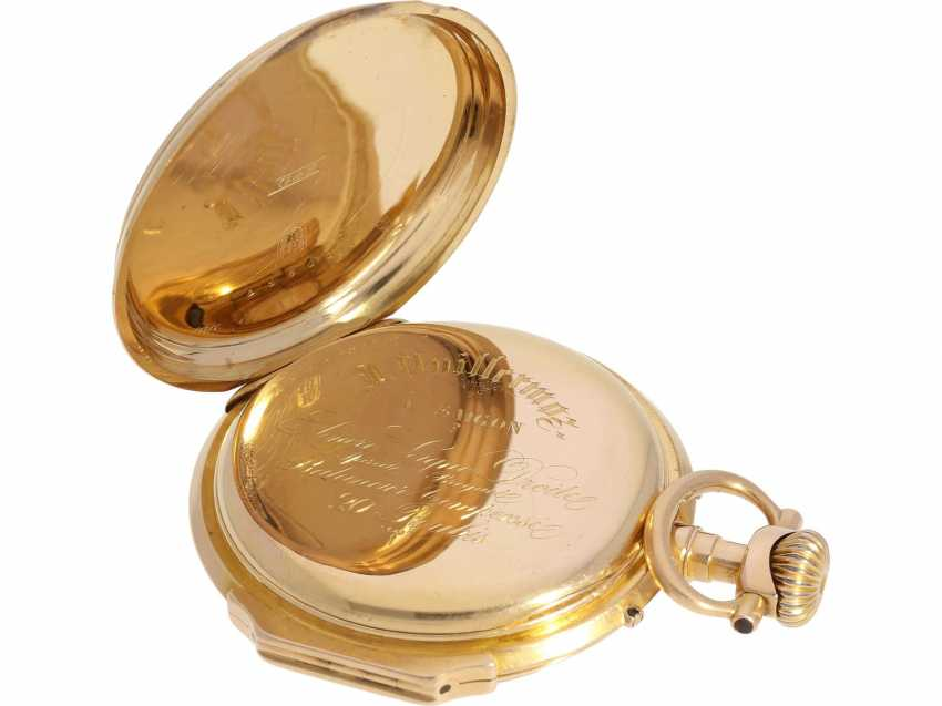 Pocket watch: very beautiful Louis XV Lepine, with a calendar, 18K red gold case, signed Vuillermos a Saigon, CA. 1870 - photo 5