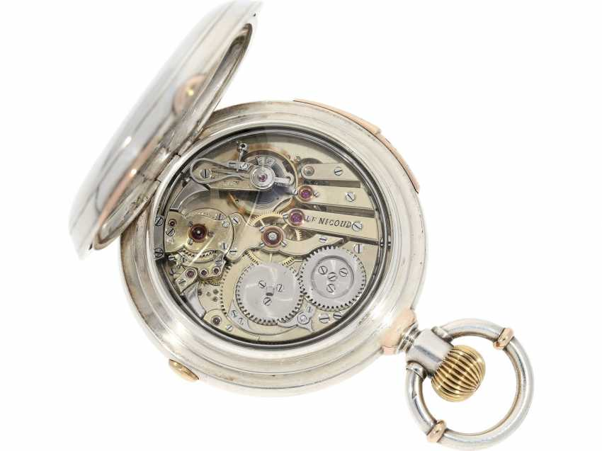 Pocket watch: very fine precision clock with minute repetition and Chronograph, extremely heavy special housing made of silver and rose gold, Frederic Nicoud, La Chaux De Fonds, CA. 1880 - photo 4