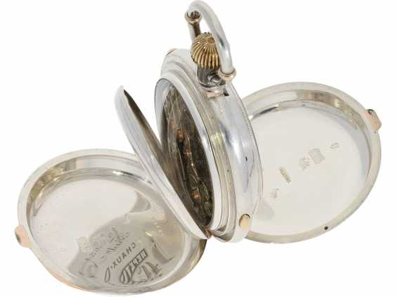 Pocket watch: very fine precision clock with minute repetition and Chronograph, extremely heavy special housing made of silver and rose gold, Frederic Nicoud, La Chaux De Fonds, CA. 1880 - photo 6