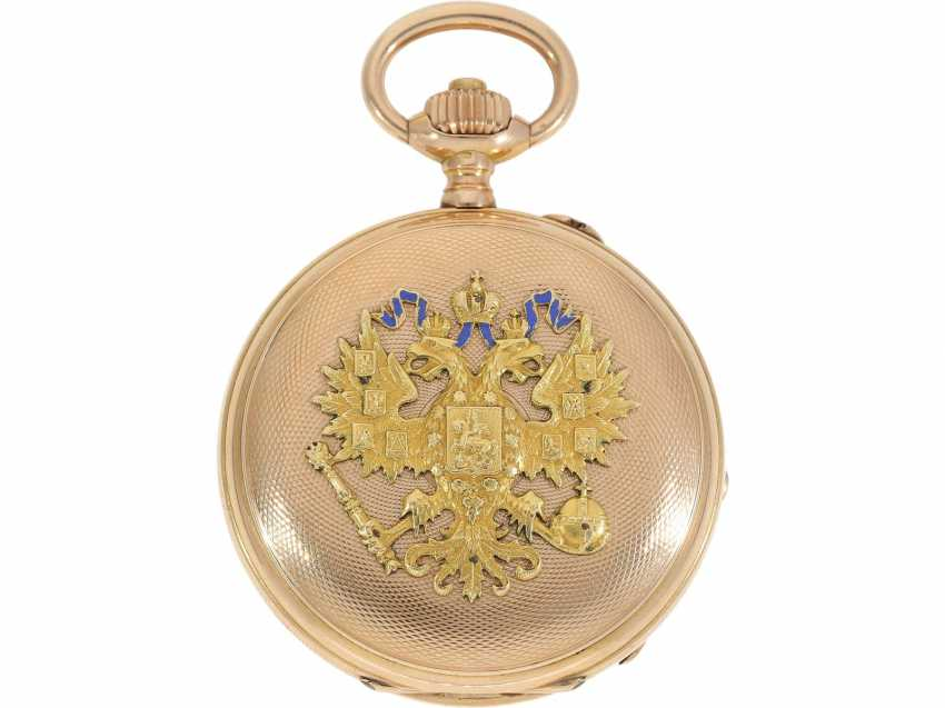 Pocket watch: beautifully preserved, multi-colored Golden, and enameled ceremonial savonette, presumably, Present at the Russian Tsar, Pavel Buhre No. 41974, CA. 1900 - photo 2
