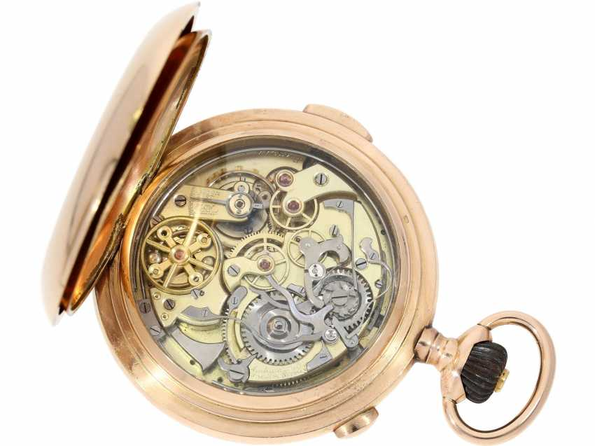 Pocket watch: very high quality and intricate 14K rose gold Savonnette minute repeater and Chronograph, Audemars Frères, Brassus & Genève, made for the Russian market, CA. 1910 - photo 5
