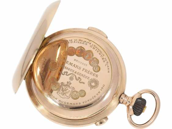 Pocket watch: very high quality and intricate 14K rose gold Savonnette minute repeater and Chronograph, Audemars Frères, Brassus & Genève, made for the Russian market, CA. 1910 - photo 6