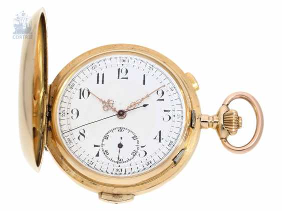 Pocket watch: heavy gold savonnette minute repeater and Chronograph, Switzerland CA. 1900 - photo 1