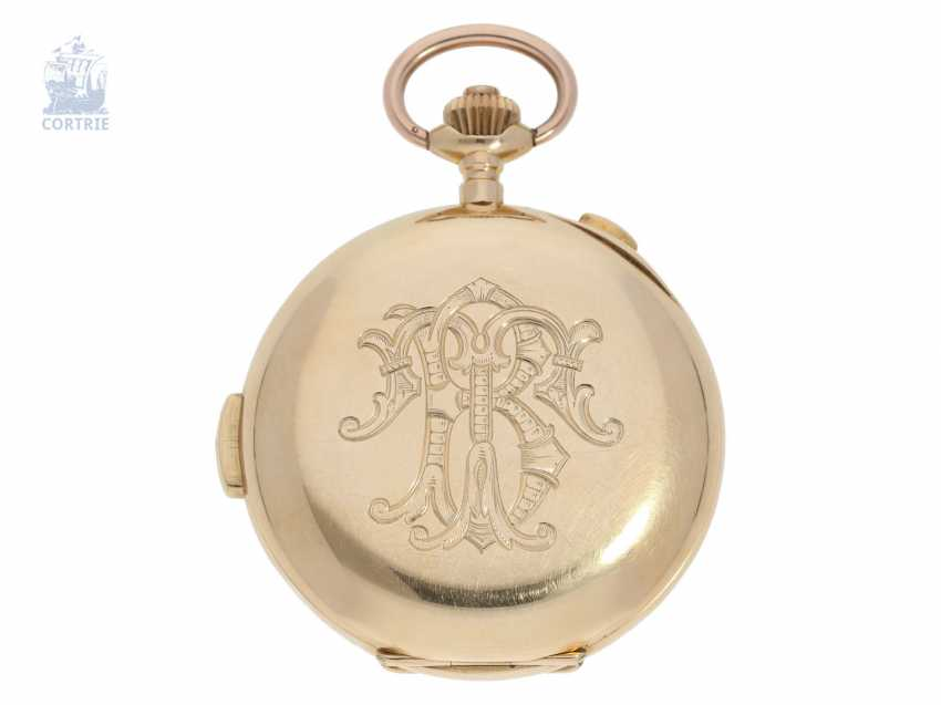 Pocket watch: heavy gold savonnette minute repeater and Chronograph, Switzerland CA. 1900 - photo 3