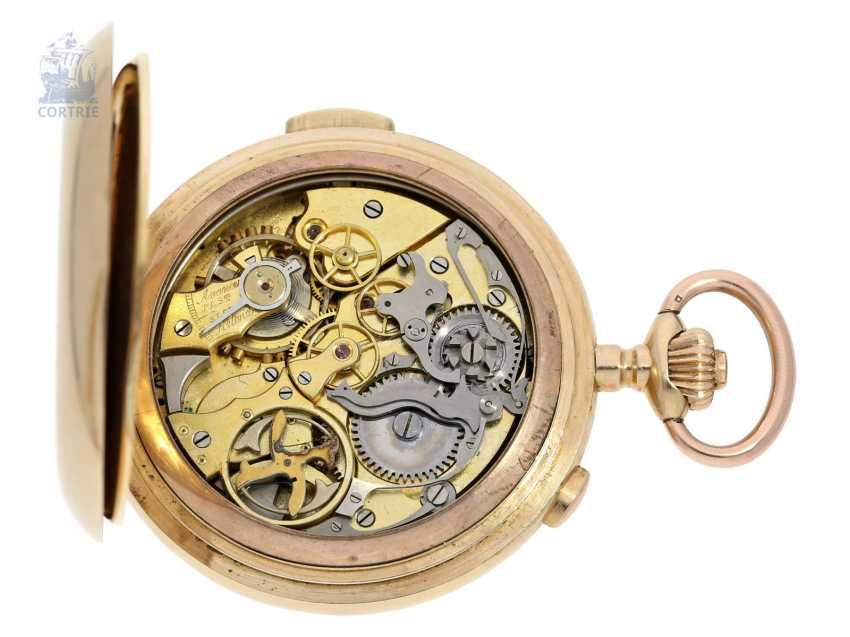 Pocket watch: heavy gold savonnette minute repeater and Chronograph, Switzerland CA. 1900 - photo 4